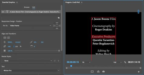 Credit Roll Template Premiere Tutorial How To Create A Credit Roll In Premiere Pro In Three Steps