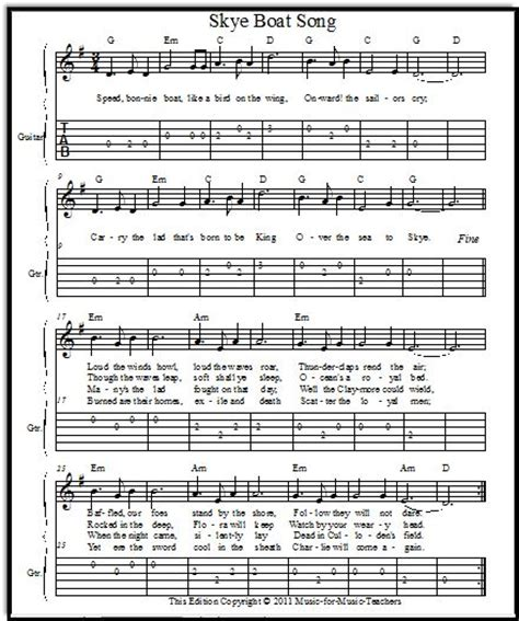 skye boat song art skye boat song download free sheet music music class