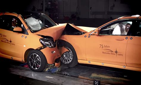 smart car test 2016 smart fortwo faces mercedes s class in crash test