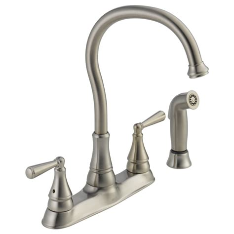 two handle kitchen faucet with sprayer two handle kitchen faucet with spray 21977lf ss delta faucet