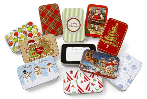 christmas gift card tin box assorted