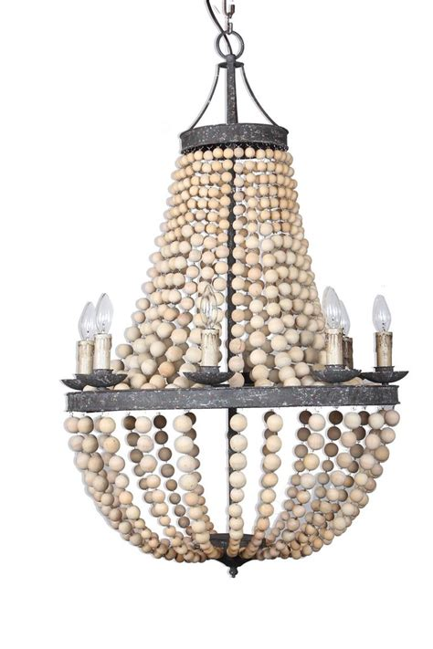 Beaded Wood Chandelier European Classics Gabriella 8 Light Wood Beaded Chandelier