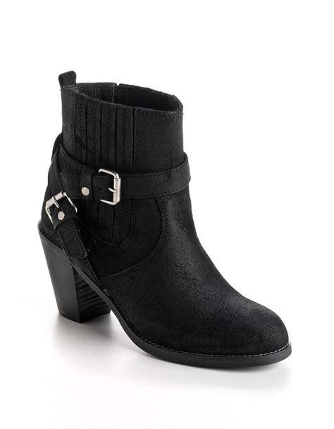 volatile boots lyst volatile milo leather boots in black