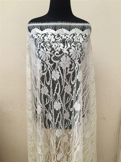 Kain Kebaya Semifrance Panel Cord brokat semi perancis warna putih tulang imanggo ethnic