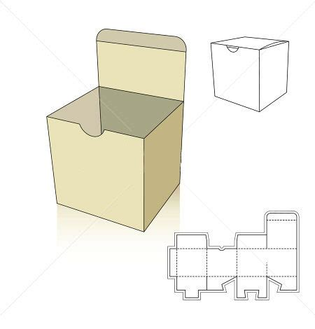 square box template with nail bit corrugated and folding