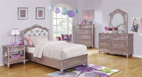 metallic bedroom furniture caroline metallic lilac youth platform bedroom set from