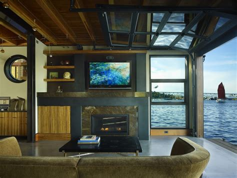 living room with views to lake union glass overhead door