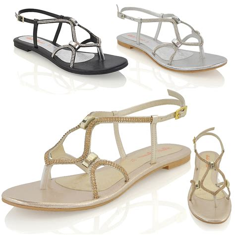 Sandal Wedges Flat Heel Casual Termurah Sendal Import Mylo Ms1122 womens flat strappy sandals diamante cut out sparkly buckle shoes size ebay