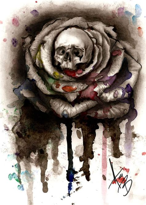 skull and black rose tattoo watercolor skull design best designs