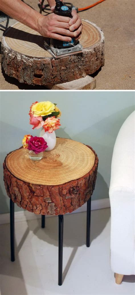 diy log table legs 40 awesome diy side table ideas for outdoors and indoors hative