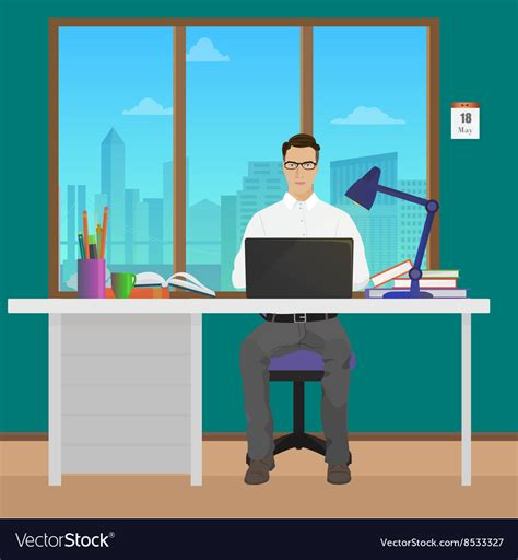 interior design office manager description office manager in office interior vector by