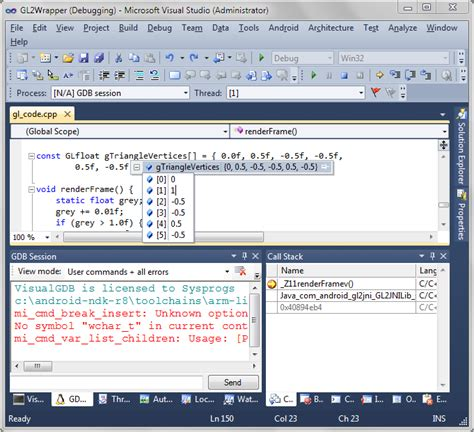 tutorial visual studio android app debugging the hello gl2 project with visual studio