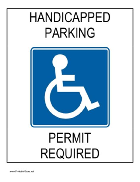 printable handicapped parking permit required sign