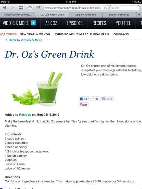 Dr Oz Green Smoothie Detox by Dr Oz Green Smoothie Vitamix