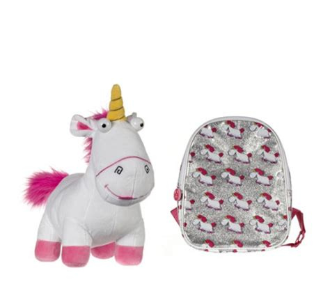 Tas Backpack Despicable Me 3 Fluffy despicable me 3 small glitter backpack large fluffy unicorn plush qvc uk