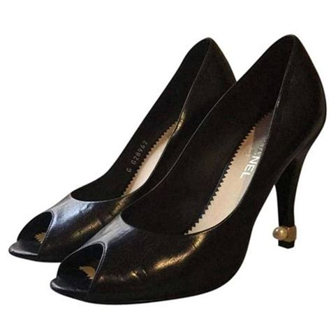 chanel escarpin ouvert with pearl heel shoes sz 38 5
