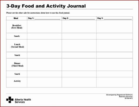 printable food and activity journal 7 food journal templatesjnxjg templatezet