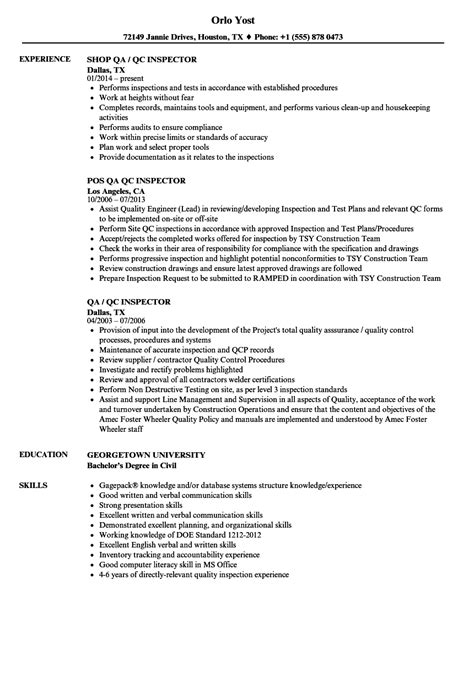 lovely qa qc inspector resume sle images resume ideas