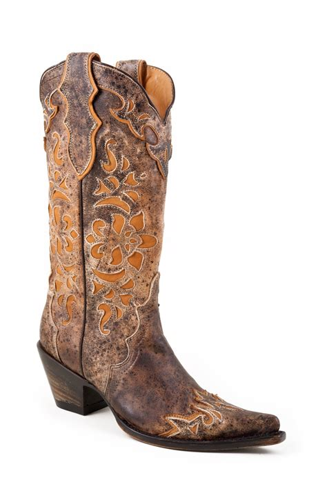 stetson womens 13 quot overlay orange speckled leather