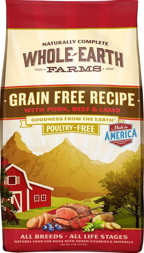 whole earth food whole earth farms grain free pork beef recipe food 12 lb bag chewy