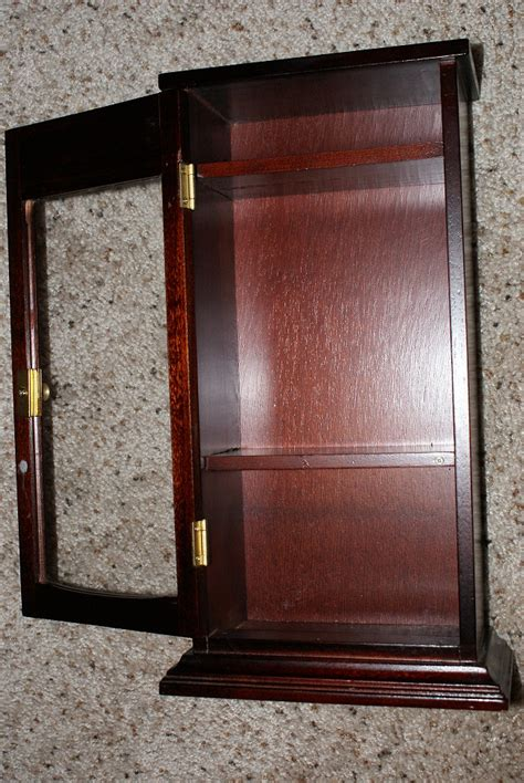 mini wood curio cabinet glass front hinged door shelves ebay