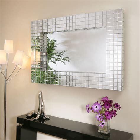 large modern rectangular wall mounted feature mirror tiles
