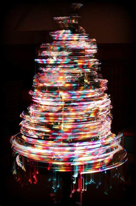 a 3 foot tall fiber optic christmas tree slowly spinning
