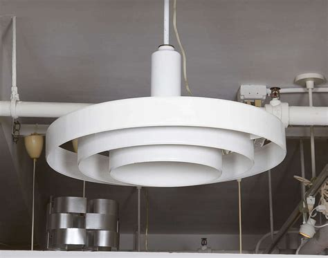 Flying Saucer Light Fixtures Minimalist White Three Tier Saucer Pendant Light Fixture By Prescolite For Sale At 1stdibs