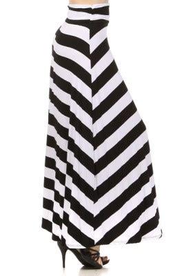 black white striped banded maxi skirt