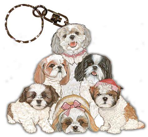 Shih Tzu Keychain shih tzu keychain wooden key ring