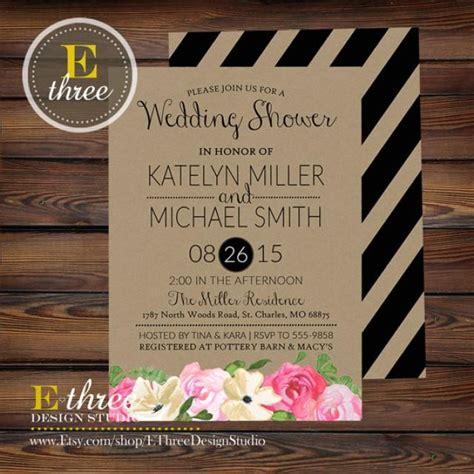 brown paper wedding stationery uk printable wedding shower invitation rustic watercolor flowers black stripes pink
