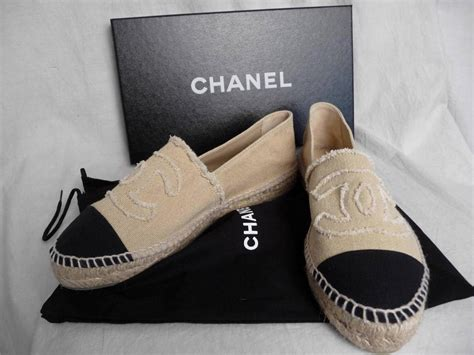 nib chanel beige platform canvas espadrilles cc shoes