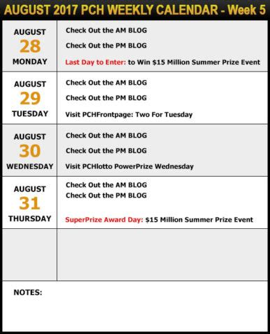 15 Million Pch - your pch schedule new sweepstakes for august pch blog