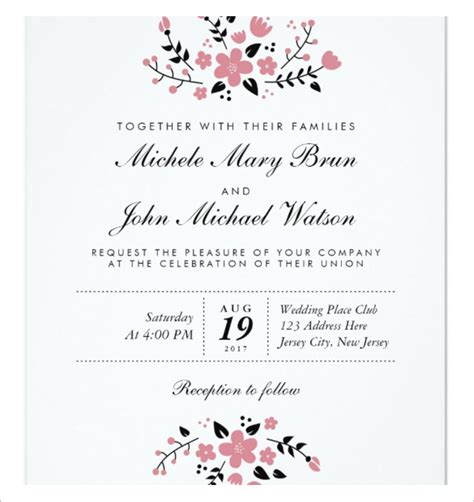 announcement name cards free template free printable wedding invitation templates for word