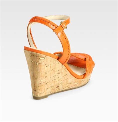 orange cork wedge sandals rogers clare leather cork wedge sandals in orange