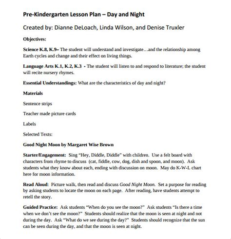 8 Kindergarten Lesson Plan Templates For Free Download Sle Templates Pre K Lesson Plan Template