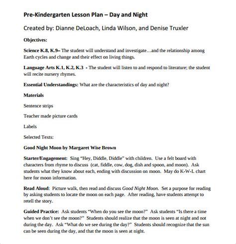 Sample Kindergarten Lesson Plan Template   7   Free