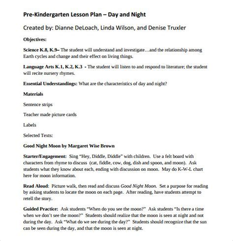 Kindergarten Lesson Plan Templates Sample Kindergarten Lesson Plan