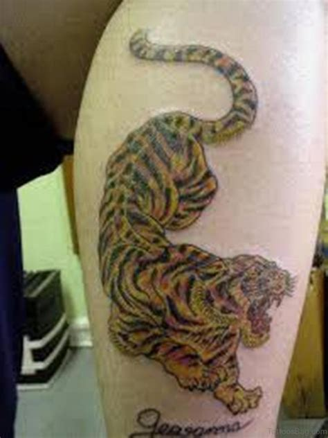 tiger thigh tattoo designs 40 clean tiger tattoos for leg