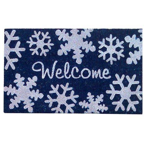 Creative Door Mats Creative Accents Snowflakes Blue 18 In X 30 In