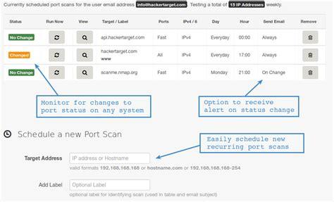website open port scanner vulnerability scanners hackertarget