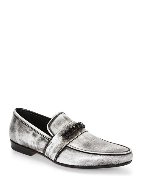 versace loafers for versace distressed chain loafers in black black white lyst