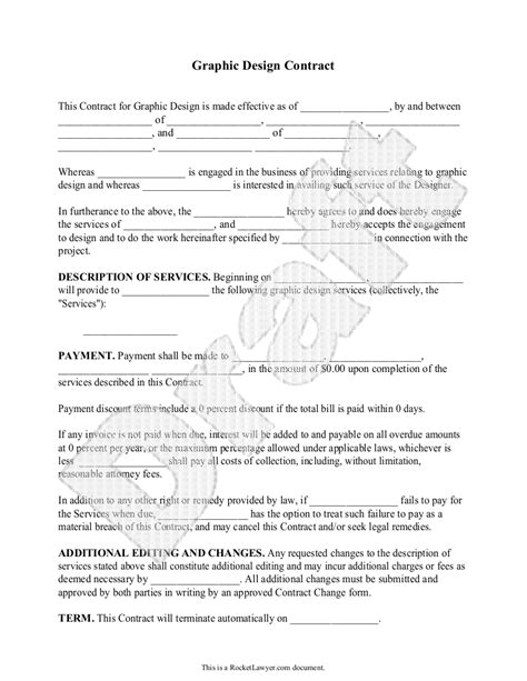 sample graphic design contract form template freelance