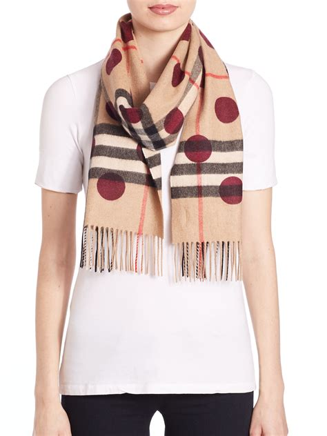 12 Most Stylish Burberry Scarves by Burberry Dot Print Check Scarf Lyst