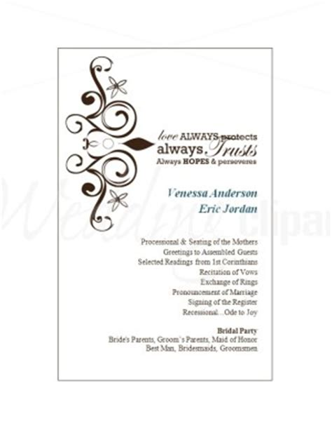 program card template printable wedding program cards template