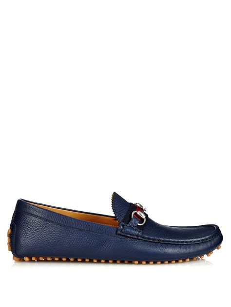 gucci damo horsebit loafers gucci damo leather loafers in blue for lyst