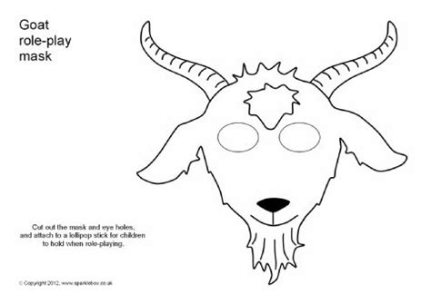 goat mask coloring page goat role play mask sb1208 sparklebox the grands