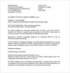 standby letter of credit template sle letter of credit 14 sles exles format