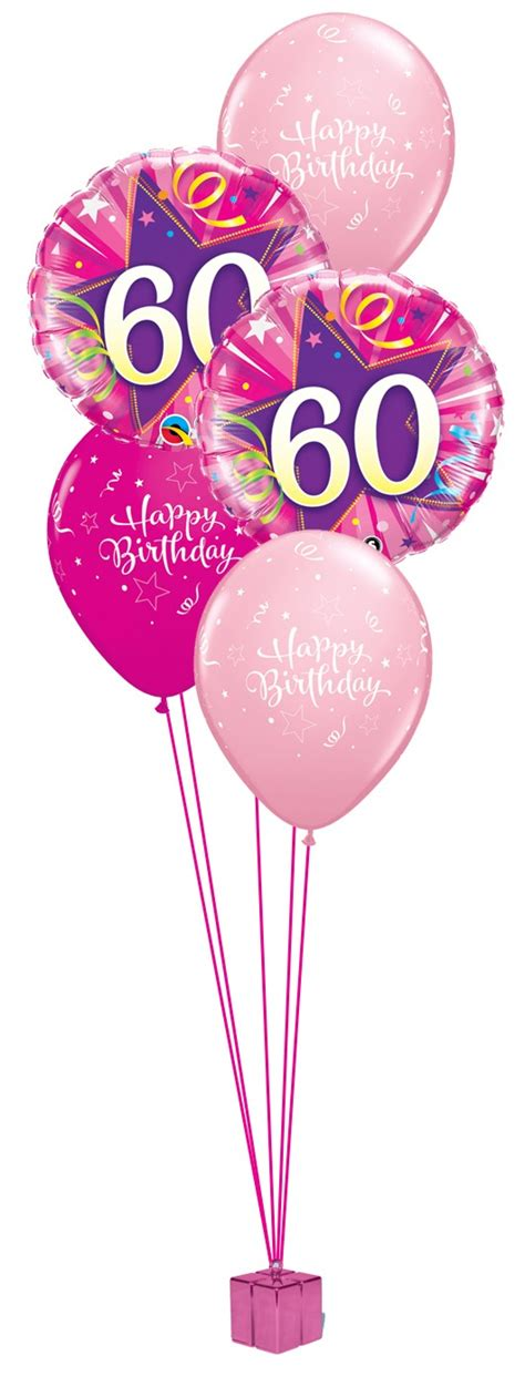60th Birthday Bouquet With Frooties Pink 60th Birthday Balloon Bouquet Fever