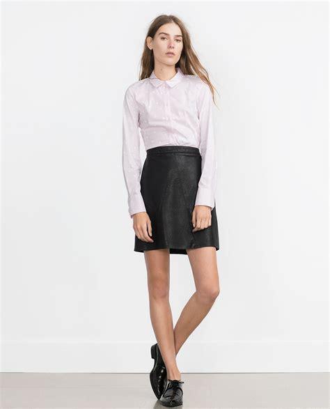 zara basic shirt basic shirt in purple pink lyst